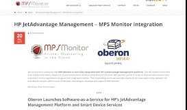 HP JetAdvantage Management - MPS Monitor integration - MPS Monitor