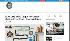 ICAI updated Study Material Order Online to get Free Delivery ICAI