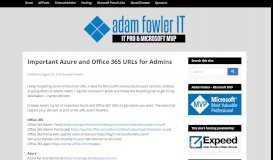 Important Azure and Office 365 URLs for Admins - AdamFowlerIT.com