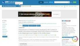 JMIR - Characteristics of Patient Portals Developed in the Context of ...