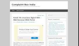 Kotak life insurance Agent NOC – PAN Removal IRDA Portal ...