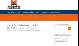 Kwara Poly Admission List 2018/2019 is Out (UPDATED) - AllSchool