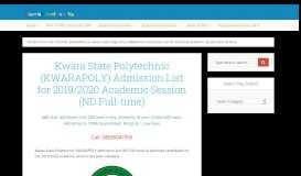 Kwara State Poly Admission List 2018/2019 (ND Full-time)