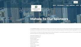 Mahalo To Our Sponsors - Chamber of Commerce Hawaii