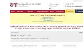 Make an Appointment   Harvard University Health Services
