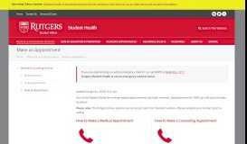 Make an Appointment – Student Health - Health – Rutgers