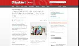 Many patients excluded from clinical trials due to prior cancer, UTSW ...