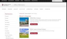Master's Degrees | Office of Admissions | SDSU
