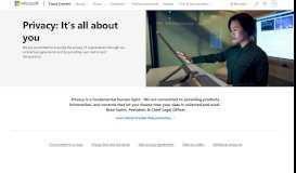 Microsoft Privacy Principles, Microsoft Trust Center