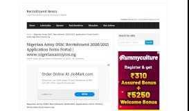 Nigerian Army DSSC Recruitment 2019/2020 Application Form Portal ...