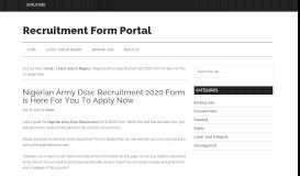Nigerian Army Dssc Recruitment 2019/2020 Form is Here For You To ...