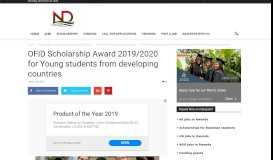 OFID Scholarship Award 2019/2020 for Young students from ...