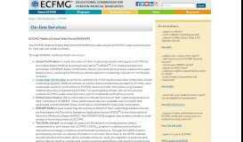 On-line Services - ECFMG Medical School Web Portal (EMSWP)