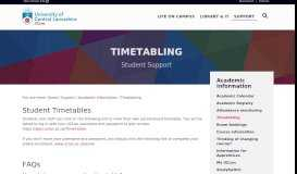 online timetable - Timetabling   Student Support   University of Central ...