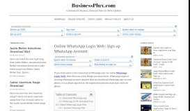 Online WhatsApp Login Web | Sign up WhatsApp Account ...