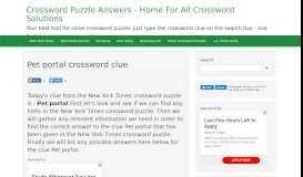 Pet portal crossword clue - Crossword Puzzle Answers