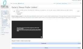 Portal 2 Teaser Trailer (video) - Portal Wiki