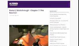 Portal 2 Walkthrough - Chapter 7: The Reunion - Altered Gamer