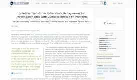 Quintiles Transforms Laboratory Management for Investigator Sites ...