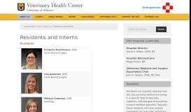 Residents and Interns - MU Veterinary Health Center - University of ...