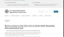 Rivers Casino to Pay $60,000 to Settle EEOC Disability Discrimination ...