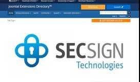 SecSign, by SecSign Technologies Inc. - Joomla Extension Directory
