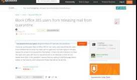 [SOLVED] Block Office 365 users from releasing mail from ...