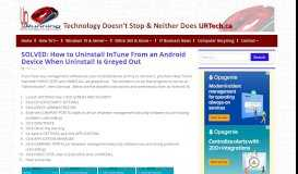 SOLVED: How to Uninstall InTune From an Android Device When ...