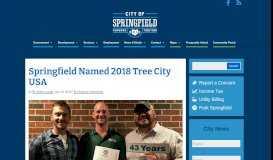 Springfield Named 2018 Tree City USA - City of Springfield