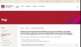 Staff Portal - Pay - MQ Staff - Macquarie University