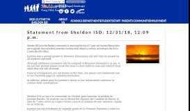 Statement from Sheldon ISD: 12/31/18, 12:09 pm
