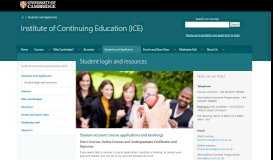 Student login and resources   Institute of Continuing Education ...