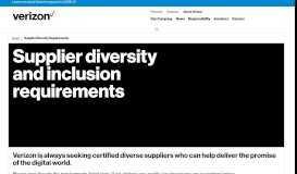 Supplier Diversity Requirements | About Verizon