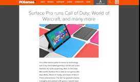 Surface Pro runs Call of Duty, World of Warcraft, and many more ...