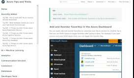 Tip 6 - Add and Reorder Favorites in the Azure Dashboard | Azure ...