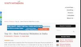 Top 10 - Best Financial Websites in India - WikiFinancepedia