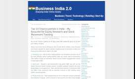 Top 10 Finance portals in India – My favourite for Equity Research and ...