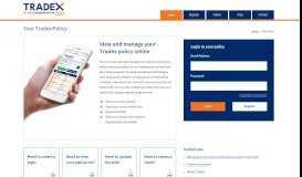 Tradex Customer Portal - Home Page