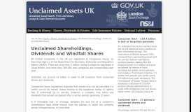 Unclaimed Shareholdings, Dividends and Windfall Shares ...
