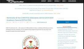 UNIUYO Admission List for 2018/2019 Session - MySchoolGist