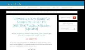UNIUYO Admission List out For 2018/2019 Session [UTME/DE]