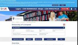 University of Liverpool courses and application information