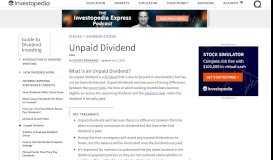 Unpaid Dividend - Investopedia