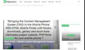 Wap-2-Go – Mobile Content Management System (CMS) – Gadget ...