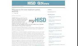 Welcome to the new employee portal: myHISD   HISD   Employee ...