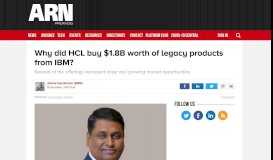 Why did HCL buy $1.8B worth of legacy products from IBM? - ARN