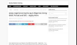 www.nigerianarmyms.ng is Nigerian Army DSSC ... - Recruitment Portal