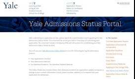 Yale Admissions Status Portal   Yale College Undergraduate ...