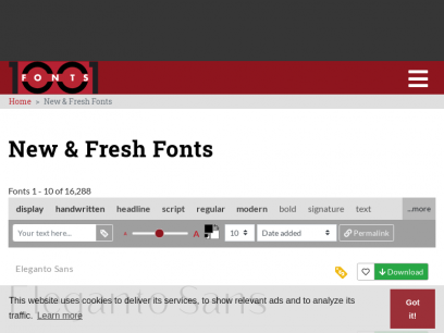 1001 Fonts ❤ Free Fonts Baby!