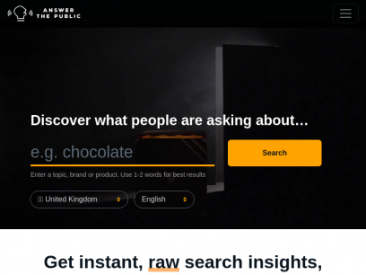 Search listening tool for market, customer & content research - AnswerThePublic